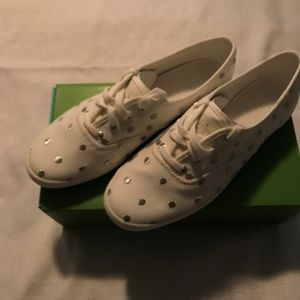 Kate Spade White/Silver Dots Sneakers NIB